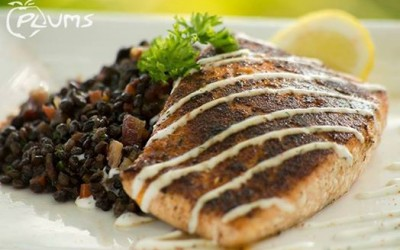 Plums Restaurant | Catch Of The Day - Salmon & Beluga Lentils | Beaufort Restaurants