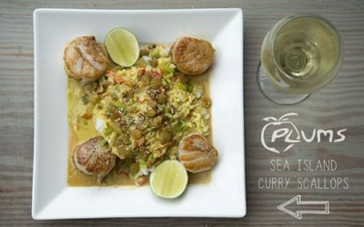 Plums Restaurant | Sea Island Curry Scallops | Beaufort Restaurants