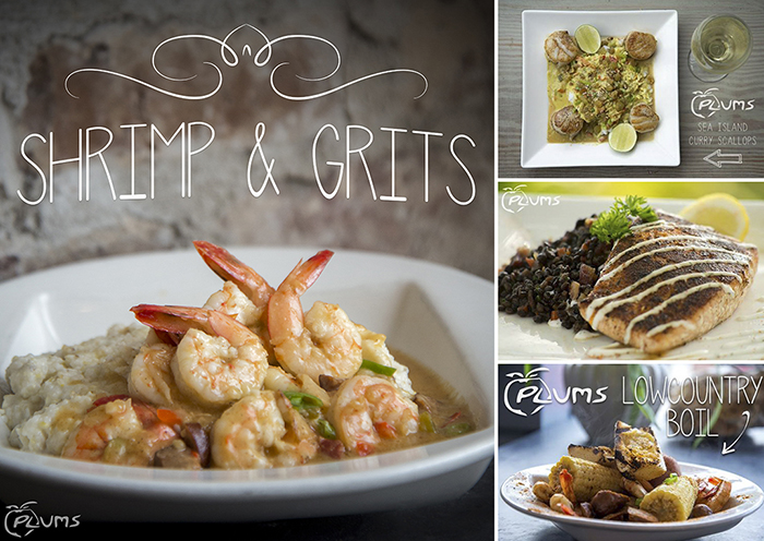 Plums Restaurant | Shrimp & Grits, Curry Scallops, Blackened Salmon and Lowcountry Boil | photos by The Lills Design