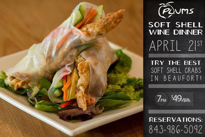 Soft Shell Wine Dinner April 21st